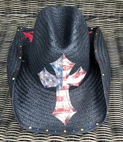 BMB Cross Cowboy Hat (Red/White/Blue)
