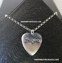 Bret Michaels Sterling Silver Signature Medium Guitar Pick Necklace